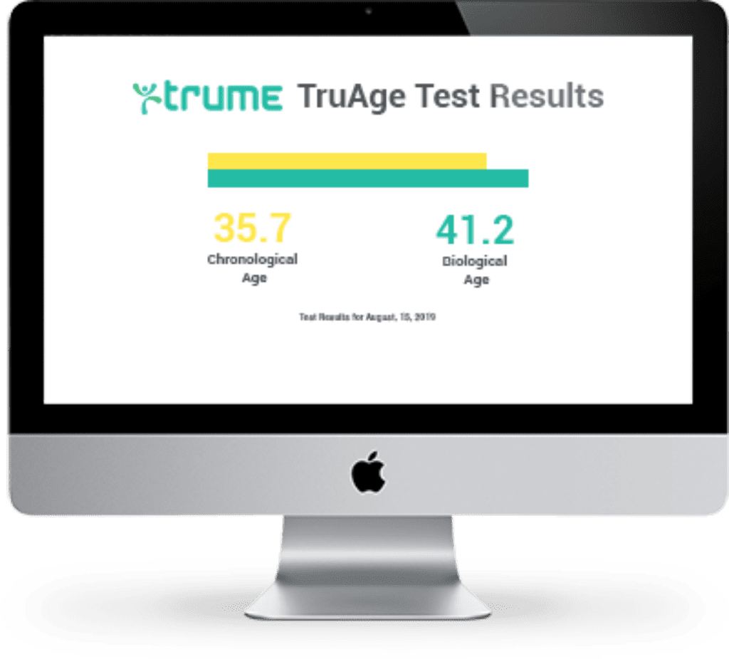 example mockup of desktop computer showing DNA biological TruAge Test results, indicating what a registered kit's results look like